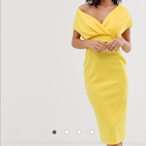 ASOS yellow midi form fitting dress off shoulder